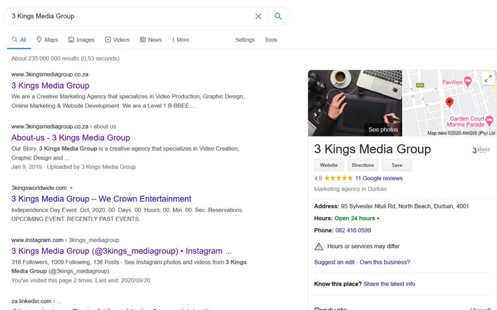 Google Search of 3 Kings Media Group